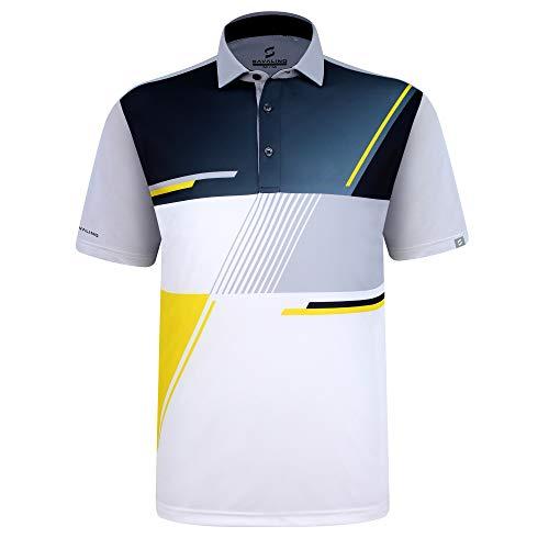 SAVALINO Men's Bowling Polo Shirts Grey Material Wicks Sweat & Dries Fast, New Finishing Technologies to Combat Smell with Material Wicks Sweats & Dries Fast XL Grey