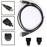 Novania 3 in1 HDMI to HDMI/Mini/Micro HDMI Adaptor Cable Kit HD for Tablet PC TV