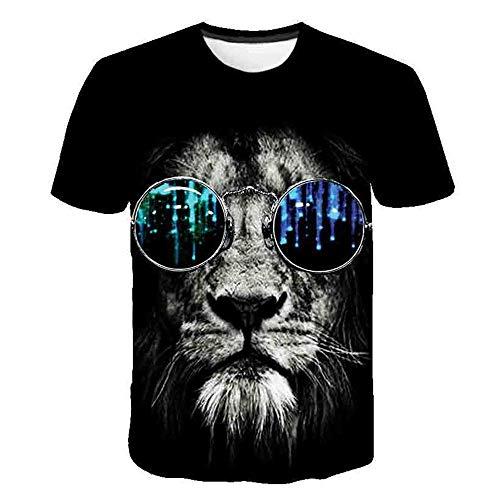 3D impresión Manga Corta Camiseta,Gafas de Sol Lion Head Verano Casual Manga Corta tee-Shirt para Vacaciones de Verano de la Playa,6XL