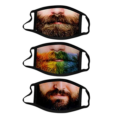 3PC Face Mẵsk for Coronàvịrụs Protectịon Adult's Unisex Funny Beard Filtеr_Breathable Face_Mask Washable_Reusable Cotton_𝙈𝙖𝙨𝙠