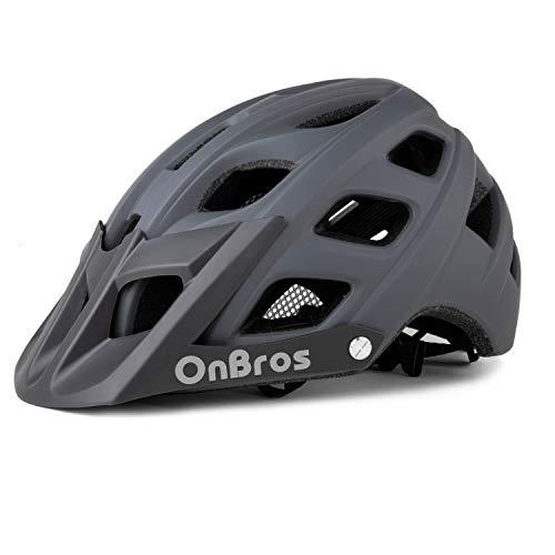 OnBros Mountainbike-Helm für Erwachsene, MTB-Fahrradhelme mit Sonnenblende, leichter Fahrradhelm für Damen und Herren (grau)