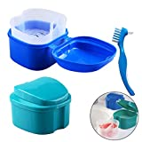 Denture Bath Box Case, Hatisan False Teeth Storage Box with Hanging Net Container, Premium Mouth Guard Box with Cleaning Brush (2Pcs)