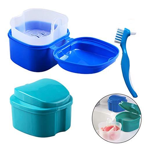 Caja de Dentadura - Caja de almacenamiento de dientes falsos Hatisan-Pro con contenedor de red colgante, caja de protección superior para boca con cepillo de limpieza (3 piezas)