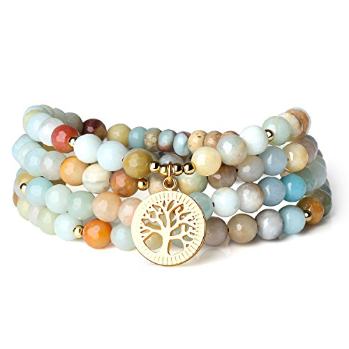 COAI Bracciale Multistrato 108 Perle Mala in Amazzonite Sfaccettata con Amuleto Albero della Vita, Bracciale Collana in Pietre Naturali Benefiche