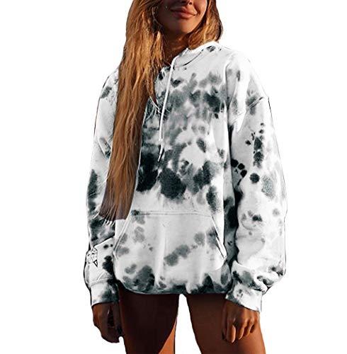 HOTHONG Sweatshirt Femme Longue Sweat à Capuche Blouse Tops À Imprimé Manches Longues Et Poche Pull Sweat LâChe Manteau Sport Pull-Over