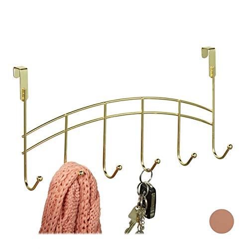 Relaxdays Türgarderobe, 6 Haken, zum Einhängen, Metall, Türhakenleiste Flur, Schlafzimmer, Bad, HBT 20x40x9 cm, Gold, 1 Stück