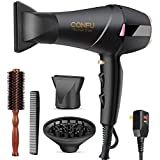 Professional Salon Hair Dryer, CONFU 1875 Watt Negative Ionic Fast Drying Blow Dryer, AC Motor Low Noise Hair Blow Dryer with Diffuser & 2 Concentrator Nozzles