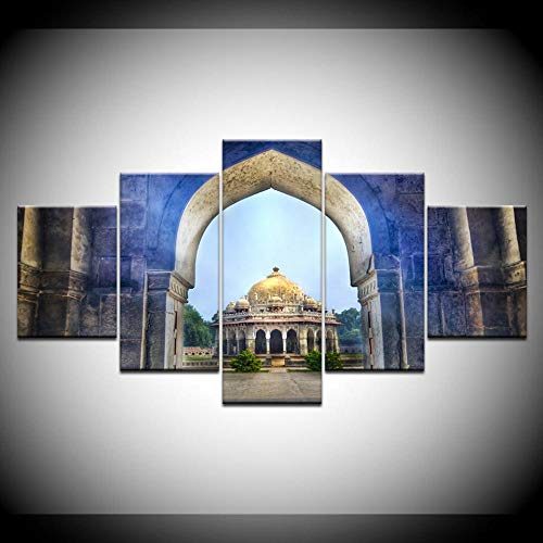 CGHBDOP Wandtattoos Bilder Leinwandmalerei Isa Khans Grabtempel 5-Teilige Malerei Modulare Tapeten Poster Print Wohnzimmer Home Decor