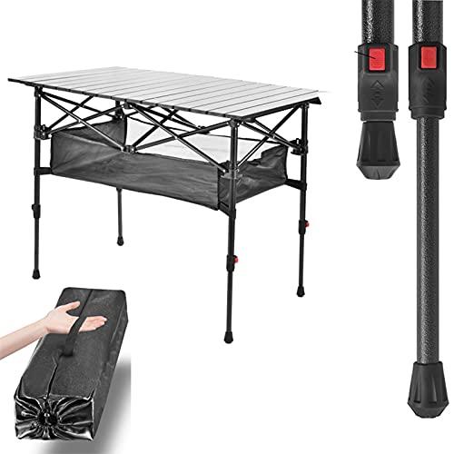 SUPERFIVE Mesa de camping ajustable en altura, plegable de aluminio con bolsillo, resistente a la intemperie, fácil de montar, 120 x 55 x (55–70)cm, Aplicaciones: fiesta familiar, picnic, camping,