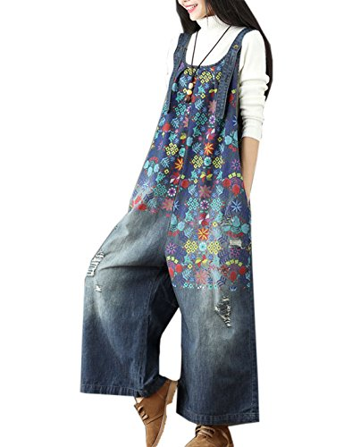 Flygo Women's Loose Baggy Cotton Wide Leg Jumpsuit Rompers Overalls Harem Pants (One Size, Style 05 Dark Blue)
