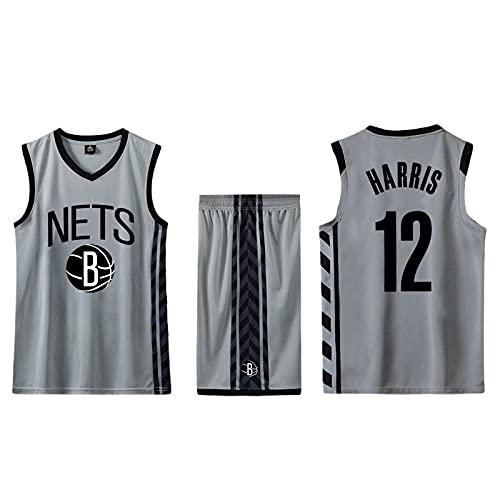LIJIANIULI Conjunto de 2 Piezas de Camiseta sin Mangas de Entrenamiento de Baloncesto y Pantalones Cortos Traje de Camiseta Pantalones Cortos Deportivos Brooklyn Nets Jerseys + Pantalones Homb