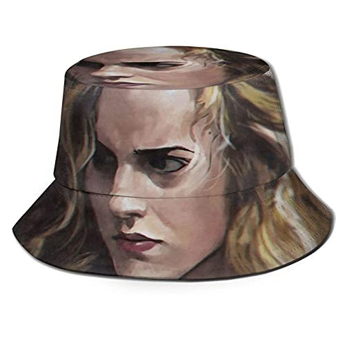 XCNGG Em-ma WA-TS-on Art Harry Bucket Hat Summer Fisherman Cap Sombrero para el Sol Siluetas Patrón Unisex Moda Viajes Protección Solar Negro