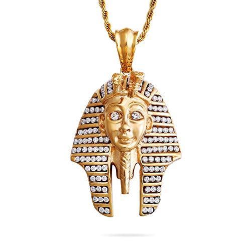 Daesar Men Necklace Stainless Steel Necklace Pendant Cubic Zirconia Necklace Charm Egyptian Pharaoh Necklace Gold Simple