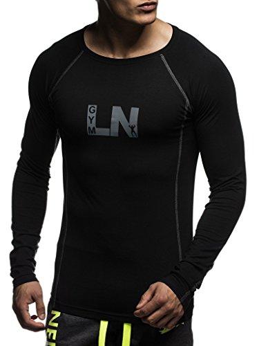 Leif Nelson Gimnasia Ropa de Deporte para Hombre Cuello Sudadera tripulación LN-6303N Negro-Gris X-Large