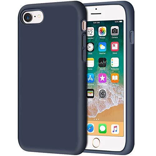 CHENYING Funda iPhone 5S,Ultra Slim Silicona líquida Gel Carcasa Totalmente Protectora Caso Cover Case Anti-Rasguño Forro de Gamuza de Microfibra Suave Cojín para Apple iPhone 5S,Azul Profundo