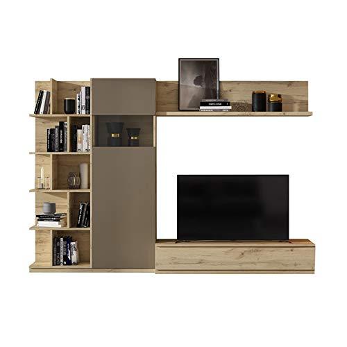 Tousmesmeubles Composition TV Chêne Blond/Laque Marron - Camelia - L 270 x l 45 x H 185 - Neuf