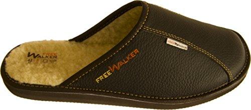 FreeWalker ®   Herren Hausschuhe Leder, 100% Schafwolle (41, Braun)