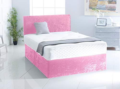 Crushed Velvet Divan Bed | Memory Foam Spring Mattress | Matching Plain Headboard (Pink, 6FT - 4 Drawer)