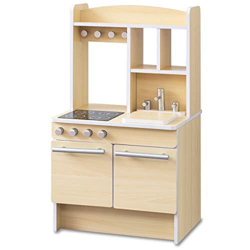 RiZKiZ おままごとキッチン お店ごっこ対応 【ナチュラル】 幅55cmx奥行き47cmx高さ98cm 表はキッチン 裏はお店屋さん リバーシブル 木製 安心安全設計 子供用 組立式