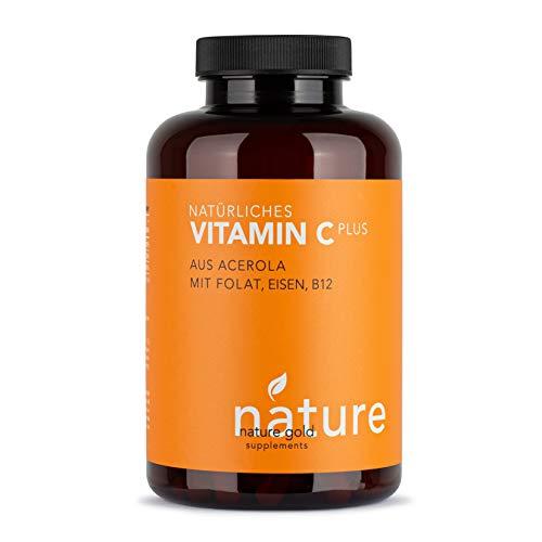 Natürliches VITAMIN C + Blutnährstoffe, 180 Kapseln, Acerola-Extrakt 700mg, Methylfolat 400μg, Eisen 14mg, Vitamin B12 25μg, Komplex mit hoher Bioverfügbarkeit, hochdosiert und vegan