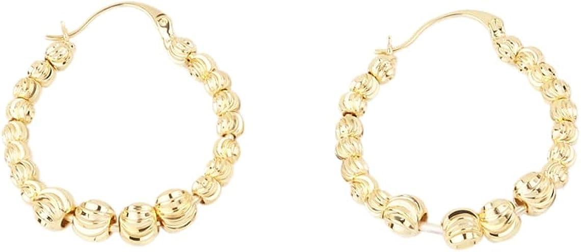 Custom Handmade 1 Pair Delicate 34.7mm 18kt Gold Filled Oval Iantern Round Beads Hoop Earrings Minimal Fashion Wholesale Bulk