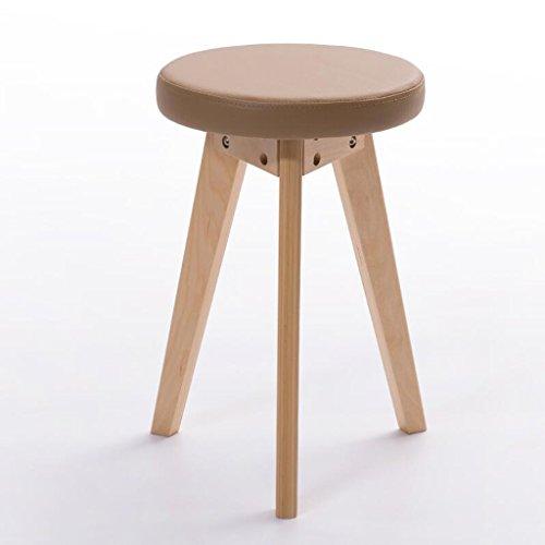 Rollsnownow Idées de mode petit banc coussin brun Tabouret de retour maison tabouret rond (Color : Wooden wooden frame)