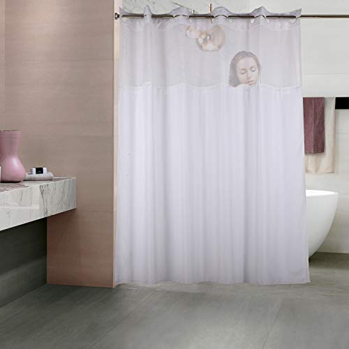 YQN Hookless Shower Curtain with Removed Fabric Inner Liner & Magnet 70.8 x 74 Inch Polyester Thickening Bath Curtain with Light-Filtering Mesh Screen Anti Mildew ABS Flex-On Rings White