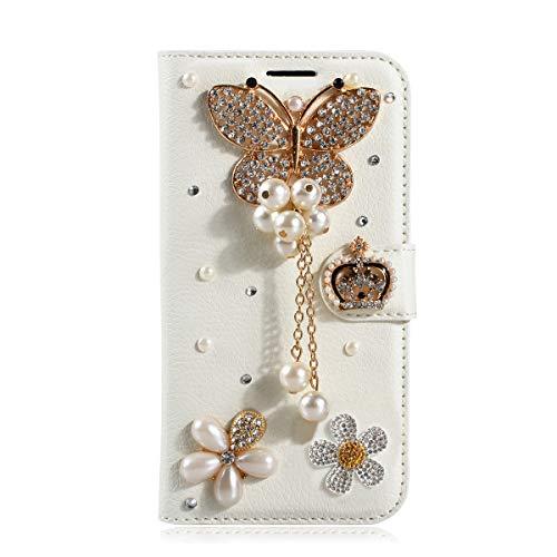 Gift_Source LG V60 ThinQ 5G Hülle, [Elefant] Handytasche Bling Glitzer Diamant Strass Handyhülle PU Leder Hülle Brieftasche Schutzhülle mit Kartenfach & Standfunktion für LG V60 ThinQ 5G (6.8