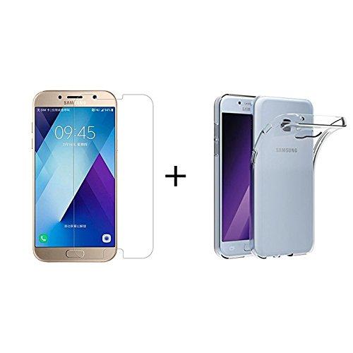 Mb Accesorios Pack Protector de Pantalla, Cristal Templado con Pegamento Completo + Funda Transparente Samsung Galaxy A5 2017 (A530)