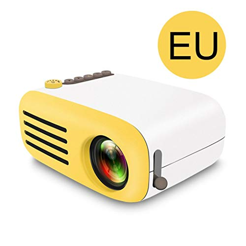 YG200 Led-mini-projector Hoge resolutie Ultra-draagbare HD 1080p USB-projector Mediaspeler Home Theater Beamer - Wit en geel EU-stekker