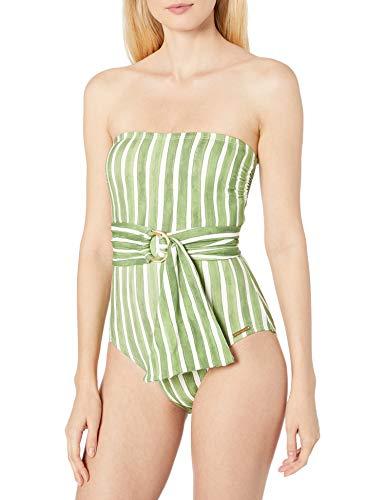 Vince Camuto Women's Bandeau One Piece Swimsuit with Wrap Detail, Hammock Stripe Fern, 8