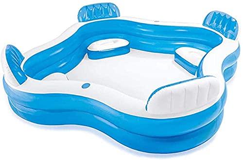 ZSCC Opblaasbaar zwembad met rugleuning en zitje Familiezwembad Transparant verdikkende baby speelt in het zwembad