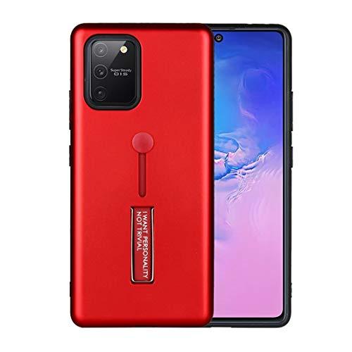 WANTONG Funda de Piel for Samsung Galaxy S20 Ultra Aceite Siente a Prueba de Golpes TPU + PC Funda Protectora con Titular (Color : Red)