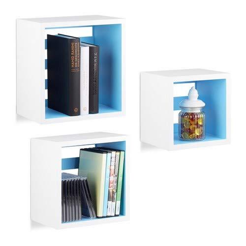 Relaxdays Cubos Flotantes de Colores, Madera MDF, Blanco y Azul, 17x30x30 cm, 3 Unidades