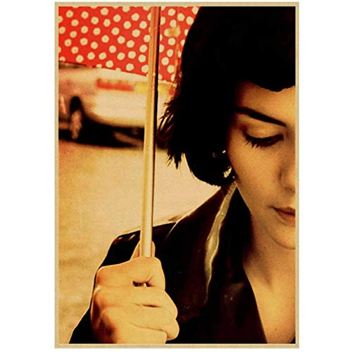 Póster de película de Literatura romántica Francesa Amelie decoración del hogar Pegatinas de Pared con núcleo de Dibujo -50x70cmx1 sin Marco