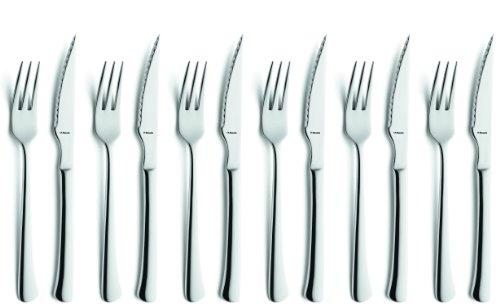 Amefa CHULETERO 7038, 12-teiliges Steak- und Pizzabesteck, Essbesteck 6 Personen , 6 x Steak-Messer, 6 x Steak-Gabel, 18/10 Edelstahl rostfrei & poliert