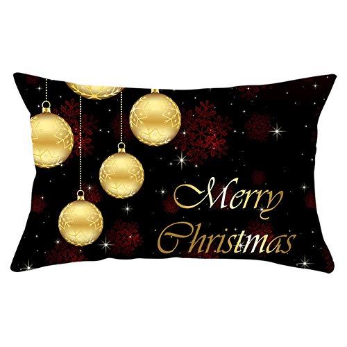 Fundas de Cojines Throw Pillow Case Bola de oro roja Navidad Cojines Decoracion Terciopelo Suave Fundas de Almohada Rectángulo para Sofá Cama Sillas Coche Decor Hogar Y4527 Pillowcase,50x90cm