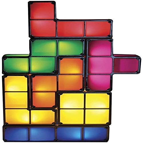 Tetris lampada, di notte ha condotto la luce 7 colori Tetris impilabile lampada da tavolo di blocco di induzione, Diy 3D Magic blocco giocattoli di puzzle per bambini Teens Camera (lampada Tetris)