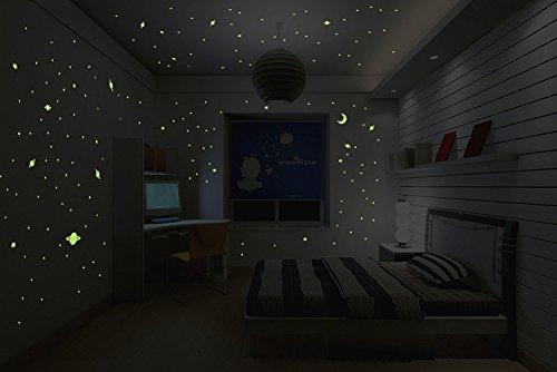 Sticker Lune phosphorescente 30cm avec 150 pétites étoiles et planètes