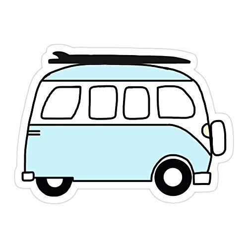 MONKEYSTYLE (3 PCs/Pack) Blue Van with Surfboard Die-Cut Stickers Decals for Laptop Window Car Bumper Helmet Water Bottle