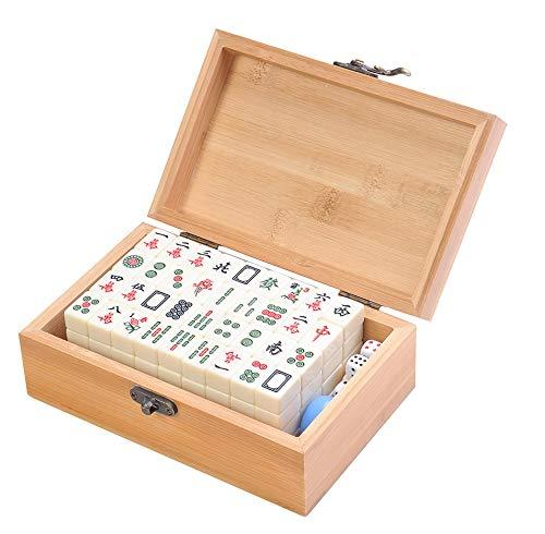 Quantum Abacus Set de Mahjong / mah-jongg, Piezas de imitación de Marfil Blanco, en una Fina Caja de bambú (16,5cm x 10,5cm x 6cm) (MJ001-03 DE)