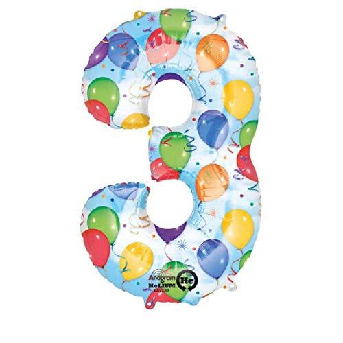 amscan Folienballon Zahl 3 Balloon Party