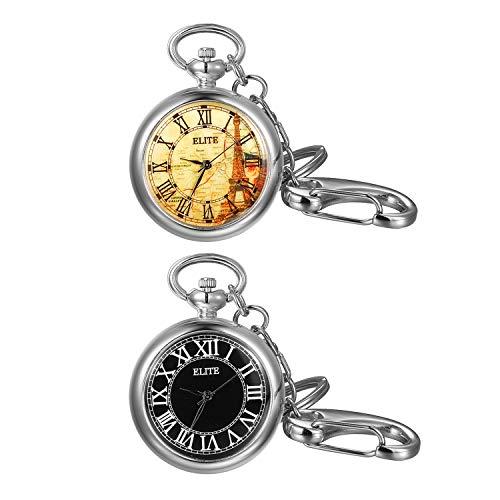 """Lancardo Damen Taschenuhr Analog Quarz Uhren Elegant Pocket Watch Unisex mit Schlüsselanhänger Kette 2.75\""""(7cm), Silber, Schwarz"""