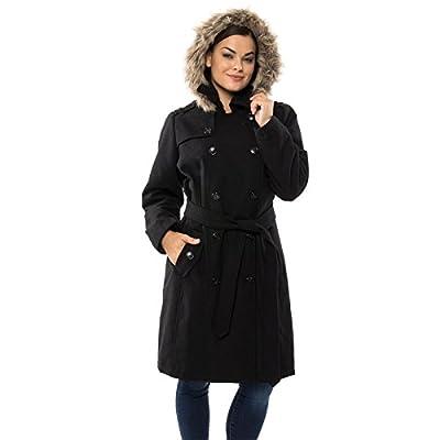 Alpine Swiss Womens Wool Parka Jacket Removable Fur Trim Hood Belted Trench Coat BLK 3XL by Alpine Swiss