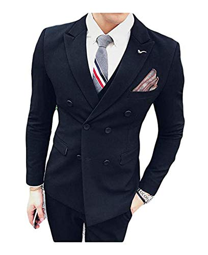 Botong Men's Double Breasted 3 PC Navy Suits Notch Lapel Wedding Suits Groom Tuxedos Navy 34 Chest / 28 Waist
