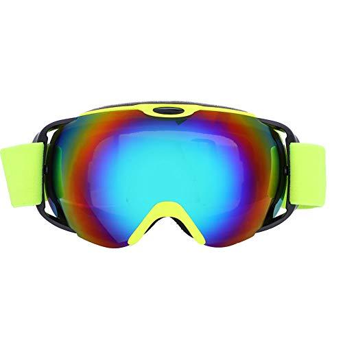 Keenso 1 Paar Skibrillen, Outdoor Sports Skibrillen Professionelle Anti-Fog-Snowboard-Skibrille(Leuchtendes Grün)