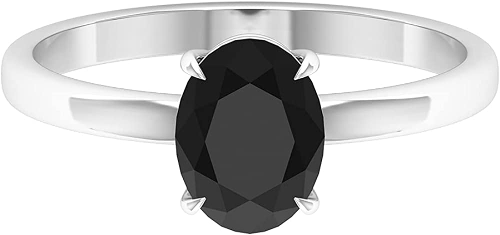 1.50 CT Simple Solitaire Ring with Oval Cut Black Onyx (AAAA Quality), 14K Gold