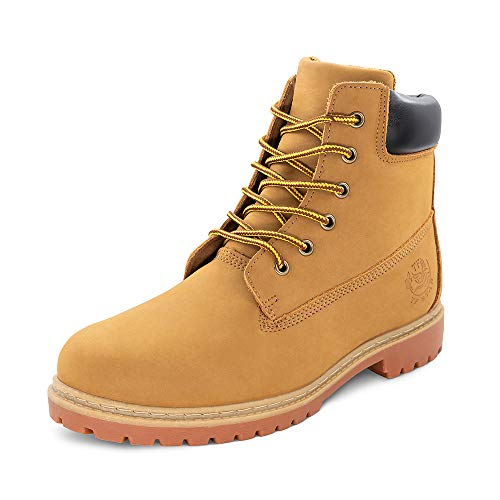 """TF STAR Men's 6"""" Basic Contrast Collar Boot Work High Heel Lace Up Premium Waterproof Boots Shoes Outdoors Tan"""