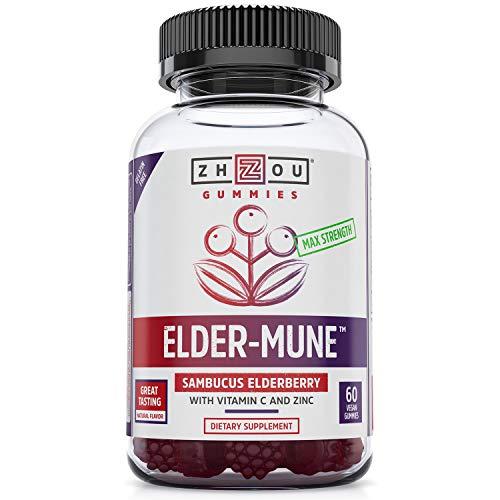 ElderMune Sambucus Elderberry Gummies  Antioxidant Flavonoids Immune Support Gummy Vitamins Zinc Supplement amp Vitamin C Supplement