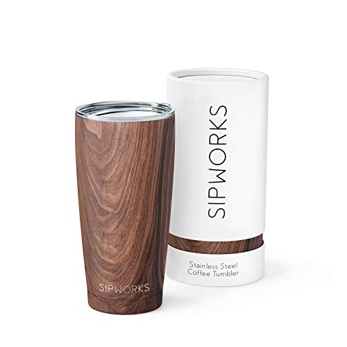 Sipworks Stainless Steel Coffee Tumbler: DoubleWall Vacuum Insulated Spillproof Travel Mug Metal Coffee Cup with Lid 20Ounce Mahogany